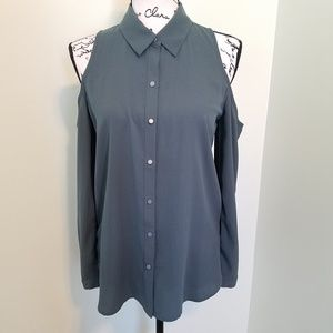 Tops - Cold-Shoulder Button-Down Blouse
